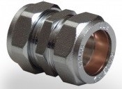 Chrome Plated Compression Coupler 15mm