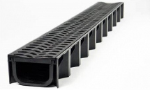 UG Drain Channel Shallow Depth Black Grate Polydrain A15